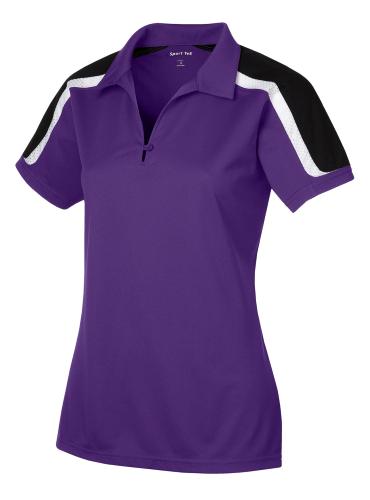 Sport-Tek Ladies Tricolor Shoulder Micropique Sport-Wick Polo