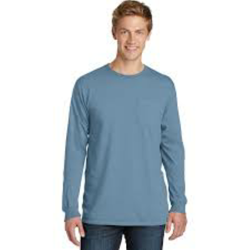 Port & Company® Essential Pigment-Dyed Long Sleeve Pocket Tee