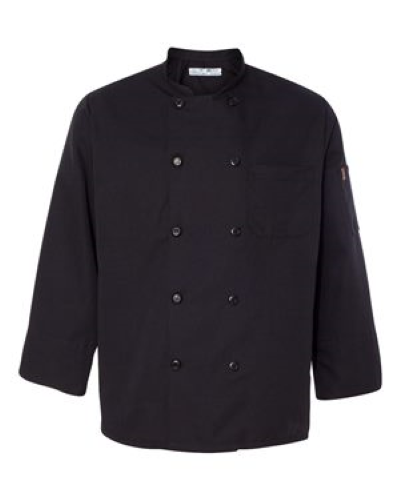 Ten Pearl Button Black Chef Coat