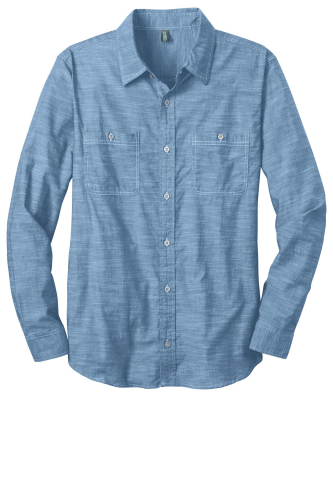 District Made Mens Long Sleeve Washed Woven Shirt