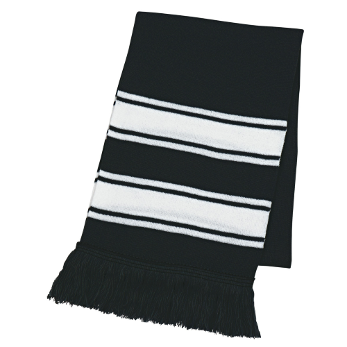 Black/white Two-Tone Knit Scarf With Fringe as seen from the front