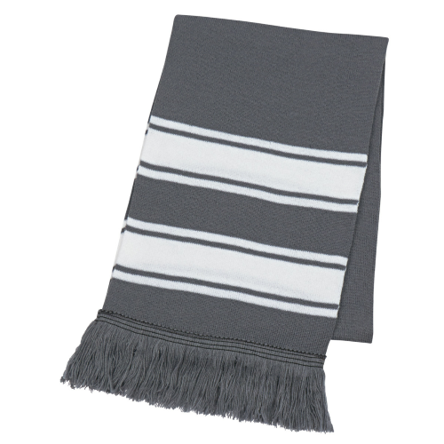 Gray/white Two-Tone Knit Scarf With Fringe as seen from the front