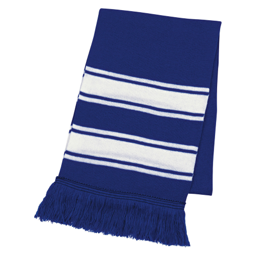 Royal Blue/white Two-Tone Knit Scarf With Fringe as seen from the front