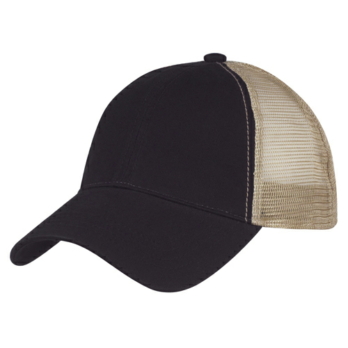 Black Washed Cotton Mesh Back Cap as seen from the front
