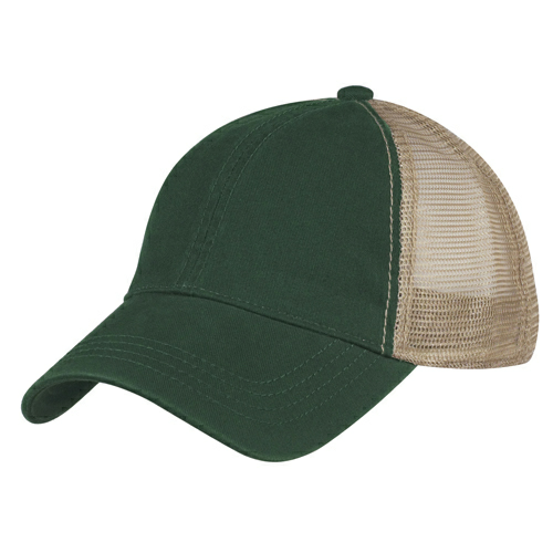 Green Washed Cotton Mesh Back Cap as seen from the front