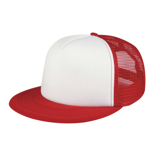 Red Flat Bill Trucker Cap as seen from the front