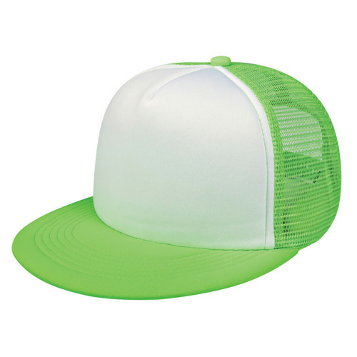 White/green Flat Bill Trucker Cap as seen from the front