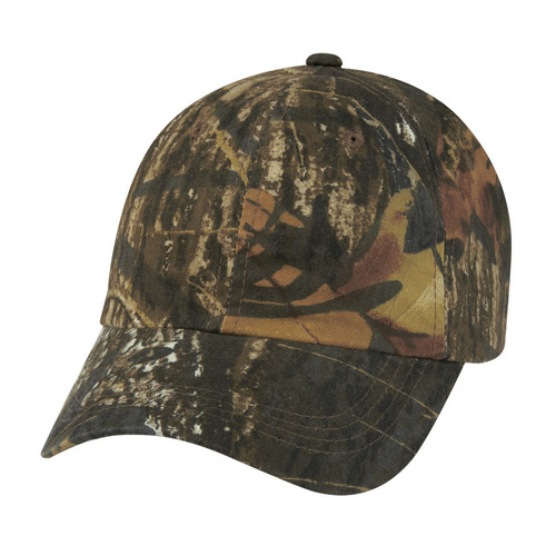 Mossy Oak Hunter 's Hideaway Camouflage Cap as seen from the front