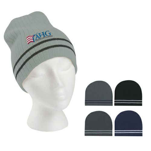 Embroidered- Ribbed Knit Beanie With Double Stripe as seen from the front