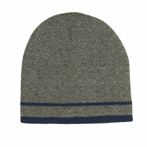 Gray/navy Stripe Knit Beanie With Double Stripe as seen from the front