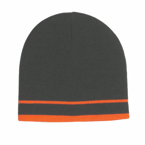 Gray/orange Stripe Knit Beanie With Double Stripe as seen from the front