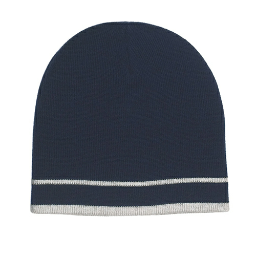 Navy/white Stripe Knit Beanie With Double Stripe as seen from the front