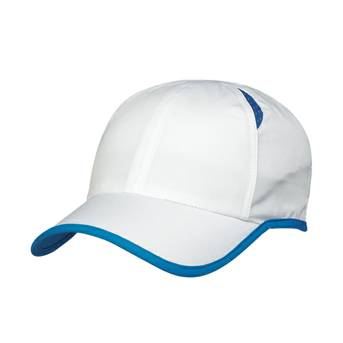 White/royal Blue Dry Cap as seen from the front