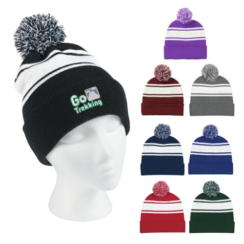 Embroidered- Two-Tone Knit Pom Beanie With Cuff as seen from the front