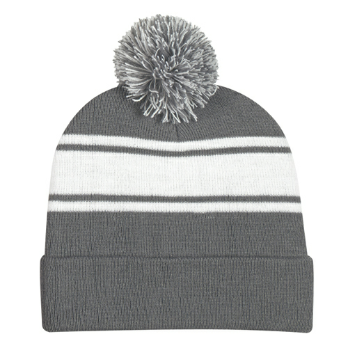 Grey Two-Tone Knit Pom Beanie With Cuff as seen from the front