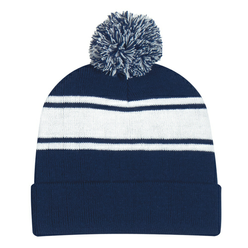 Navy Two-Tone Knit Pom Beanie With Cuff as seen from the front