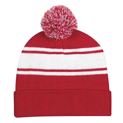 Red Two-Tone Knit Pom Beanie With Cuff as seen from the front