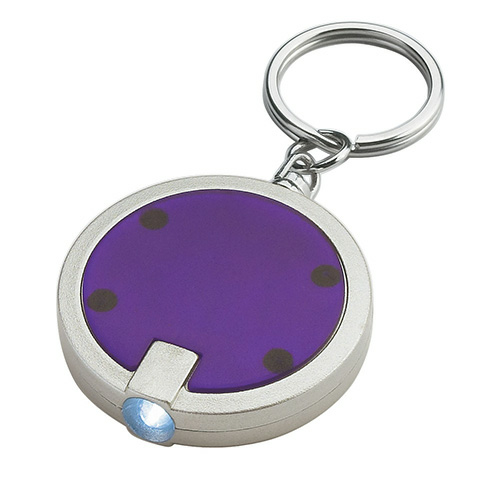 Purple Round LED Key Chain as seen from the front