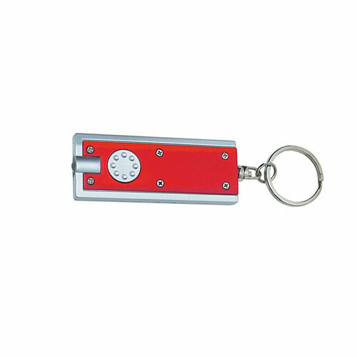 Red Rectangular LED Key Chain as seen from the front