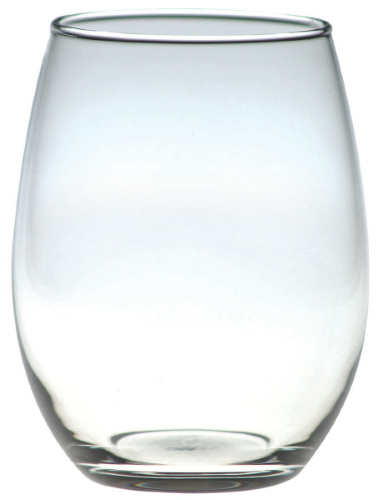 Clear 15 oz. Stemless White Wine Glass as seen from the front