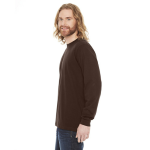 Brown MADE IN USA Unisex Fine Jersey Long-Sleeve T-Shirt as seen from the sleeveright
