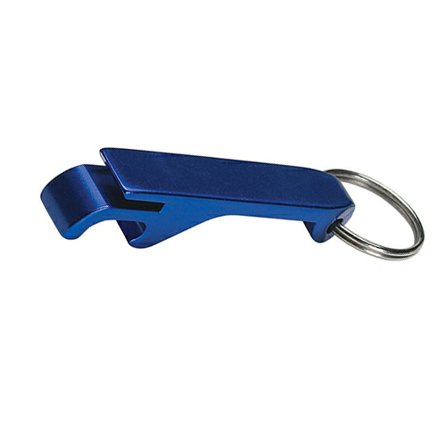 Blue Aluminum Bottle/Can Opener Key Ring as seen from the front