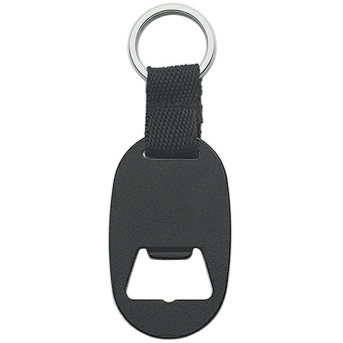 Black Metal Key Tag With Bottle Opener as seen from the front