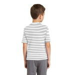 Ash White Stripe MADE IN USA Toddler Fine Jersey Short-Sleeve T-Shirt as seen from the back
