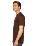 Brown MADE IN USA Unisex Fine Jersey Short-Sleeve V-Neck as seen from the sleeveright