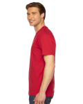 Red MADE IN USA Unisex Fine Jersey Short-Sleeve V-Neck as seen from the sleeveright