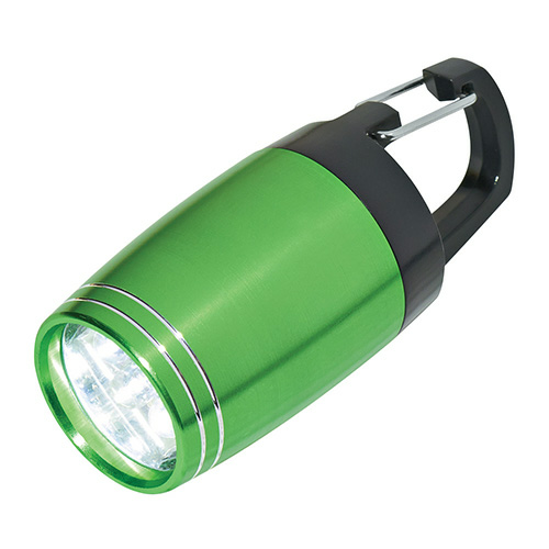 Green 6 LED Aluminum Clip Light as seen from the front