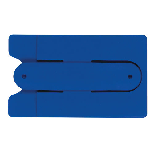 Blue Silicone Phone Wallet With Stand as seen from the front