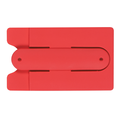 Red Silicone Phone Wallet With Stand as seen from the front
