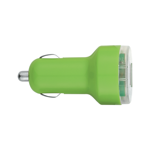 Lime Green Dual USB Car Charger as seen from the front