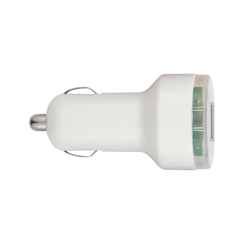 White Dual USB Car Charger as seen from the front