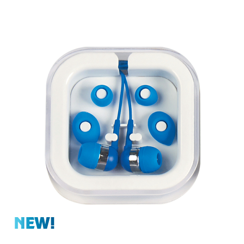 White/blue Ear Buds In Case as seen from the front