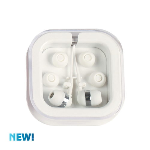 White/white Ear Buds In Case as seen from the front