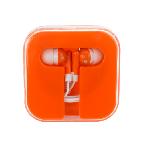 Orange/orange Ear Buds In Compact Case as seen from the front