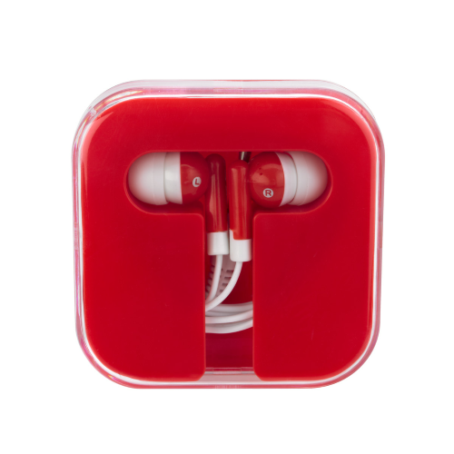 Red/red Ear Buds In Compact Case as seen from the front