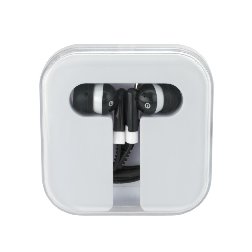 White/black Ear Buds In Compact Case as seen from the front