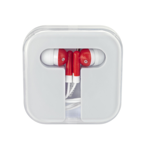 White/red Ear Buds In Compact Case as seen from the front