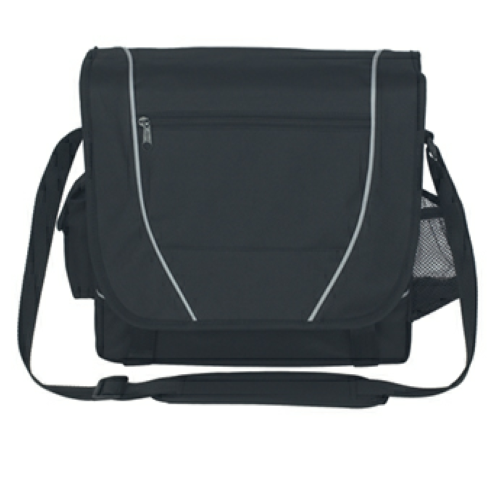 Black Messenger Bag as seen from the front
