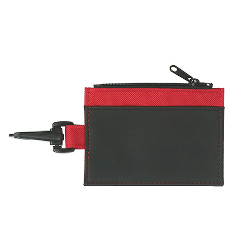 Black Pocket Red Trim Id Holder as seen from the front