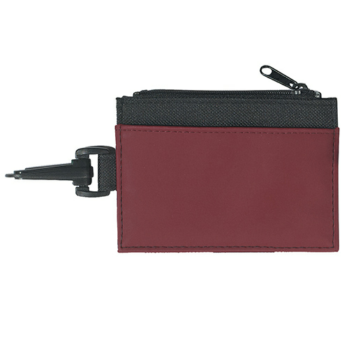Burgundy Pocket Black Trim Id Holder as seen from the front