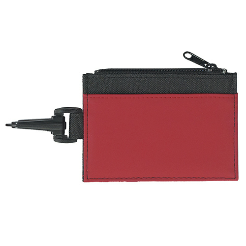 Red Pocket Black Trim Id Holder as seen from the front