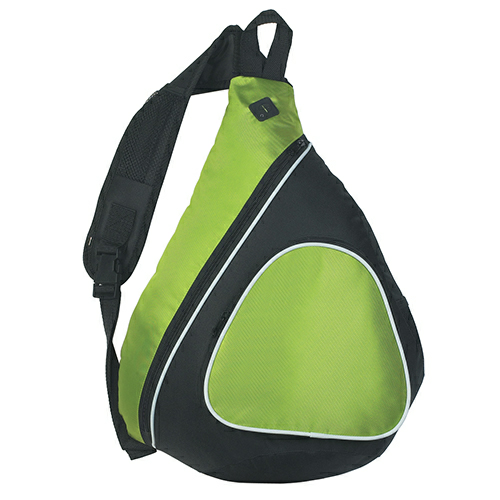 Lime Green Sling Backpack as seen from the front
