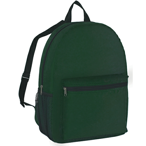 Forest Green Budget Backpack as seen from the front