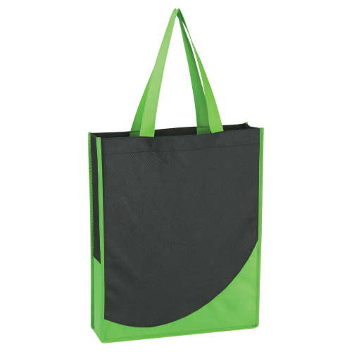 Lime Green Non-Woven Tote With Accent Trim as seen from the front