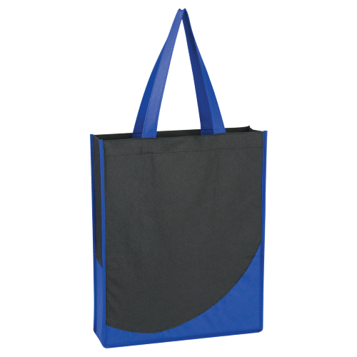 Royal Blue Non-Woven Tote With Accent Trim as seen from the front
