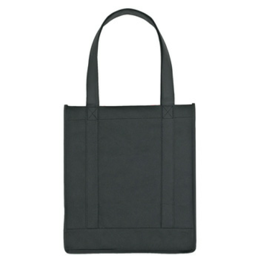 Black Non-Woven Avenue Shopper Tote Bag as seen from the front